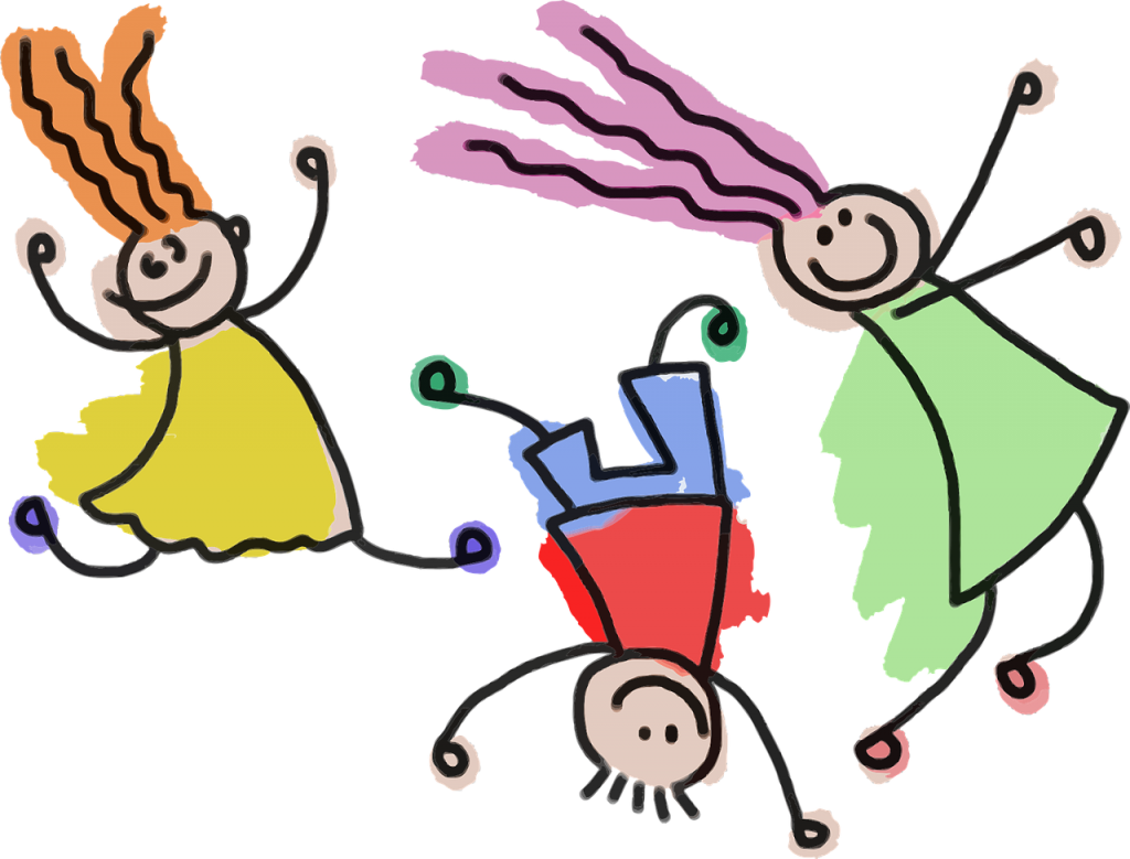 Line drawings of three children playing, wearing colorful clothing. There are two girls with orange and pink hair and a boy who is upside down.
