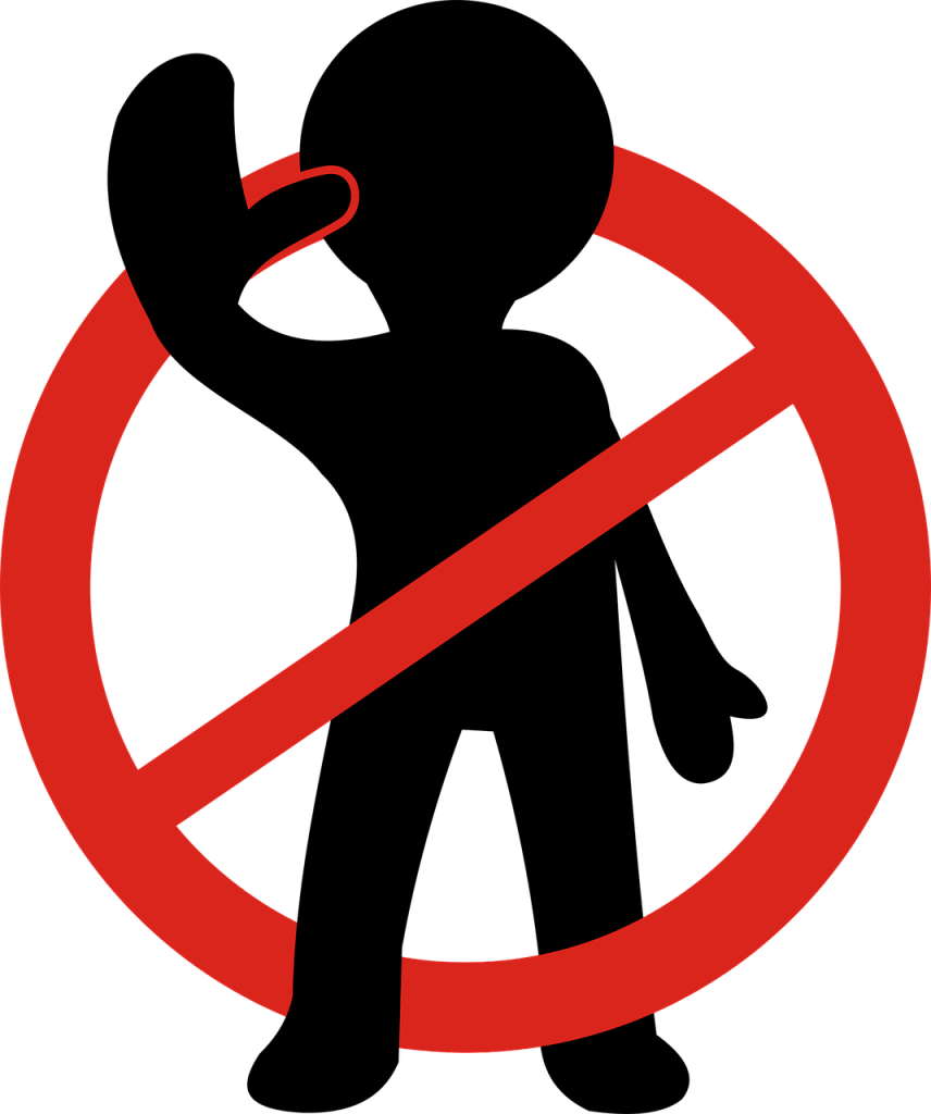 "Drawing of a human shape in black, holding up hand to say ""stop."" A red circle is around the human shape with a line across, indicating ""stop."""