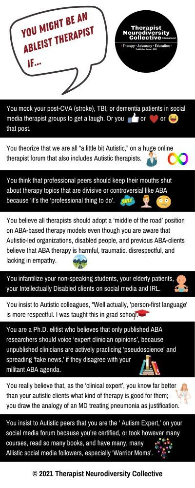 ou might be an ableist therapist if...